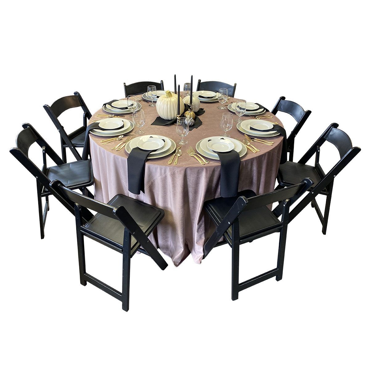 "120"" Round Rose Velvet Tablecover On 60"" Round Table With Black Napkins, White Royal China, Gold Plated Flatware, 16oz Goblets And Black Garden Chairs"