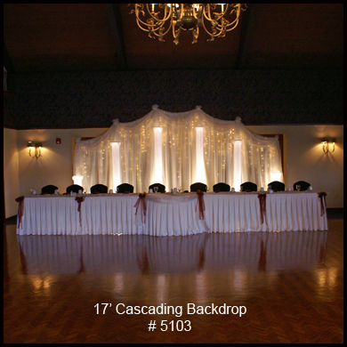 Cascading 17'  Backdrop with Lighted Columns and Mini Lights