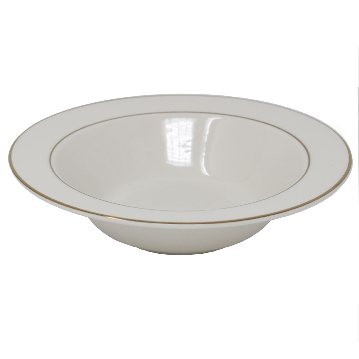 Serving Bowl Beige With Gold Band 20.5 Oz