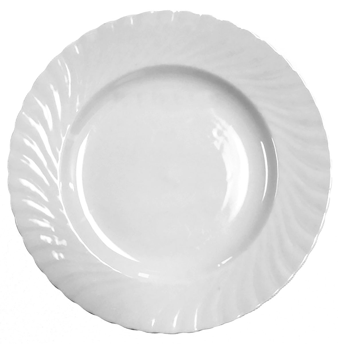 Dinner Plate White Swirl 10""