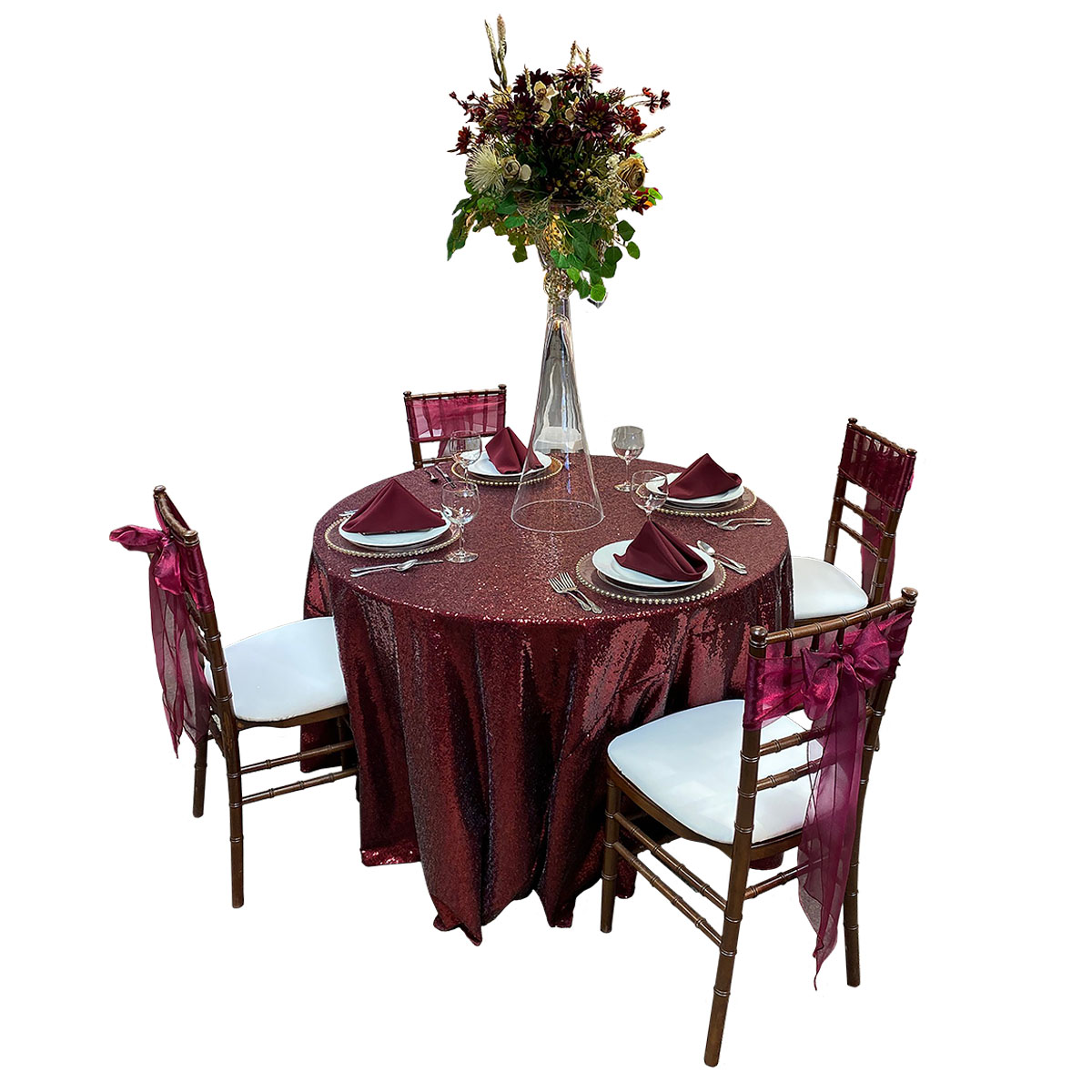 "48"" Round Table With 108"" Round Crimson Glimmer Tablecover, Fruitwood Chiavari Chairs With White Pads, Wine Organza Sashes, Glass Chargers With Gold Beads, White Swirl China, Balloon Wine Glasses, Merlot Solid Napkins And Clarinet Vase (Floral Not Included)"