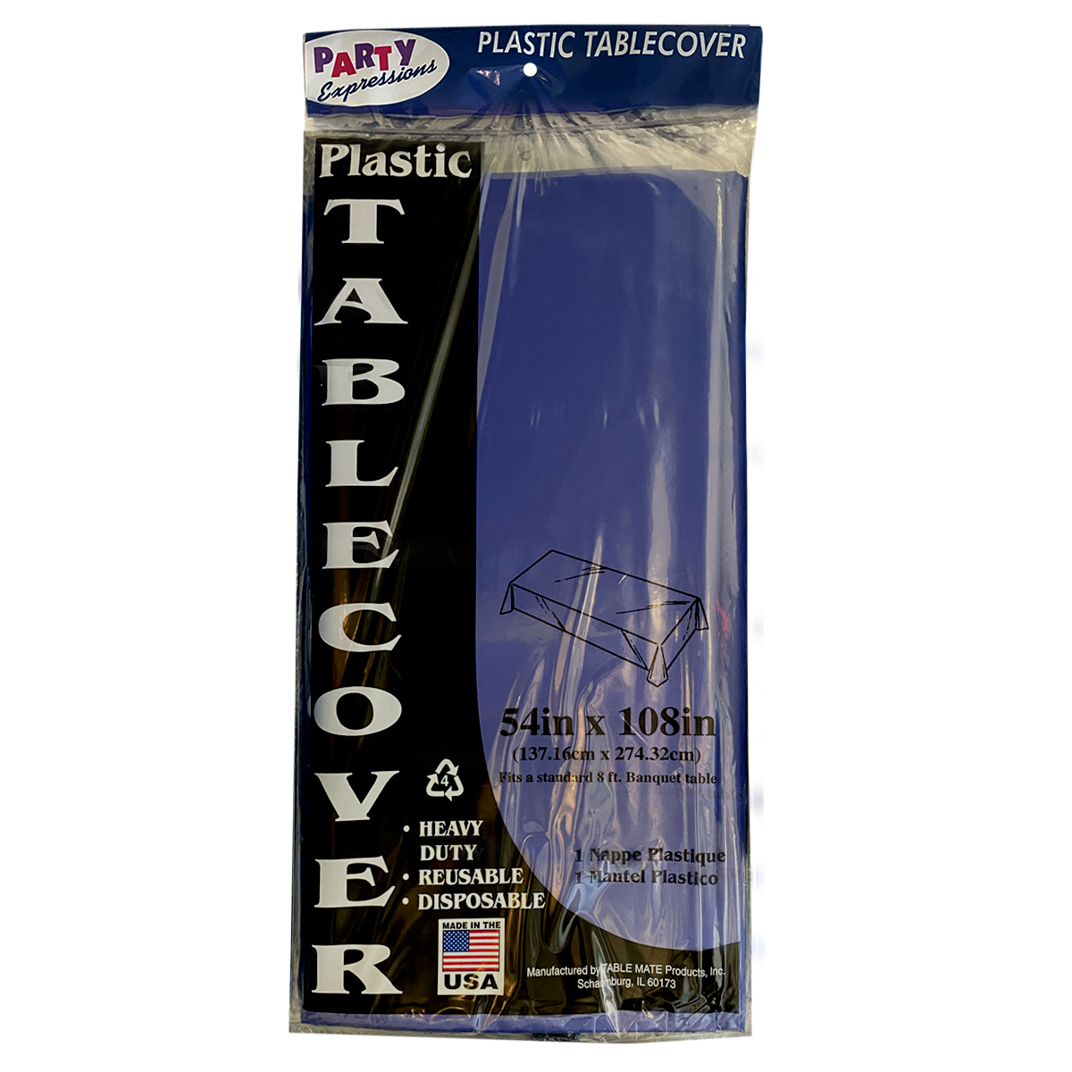 54x108 Blue Navy Plastic Tablecover