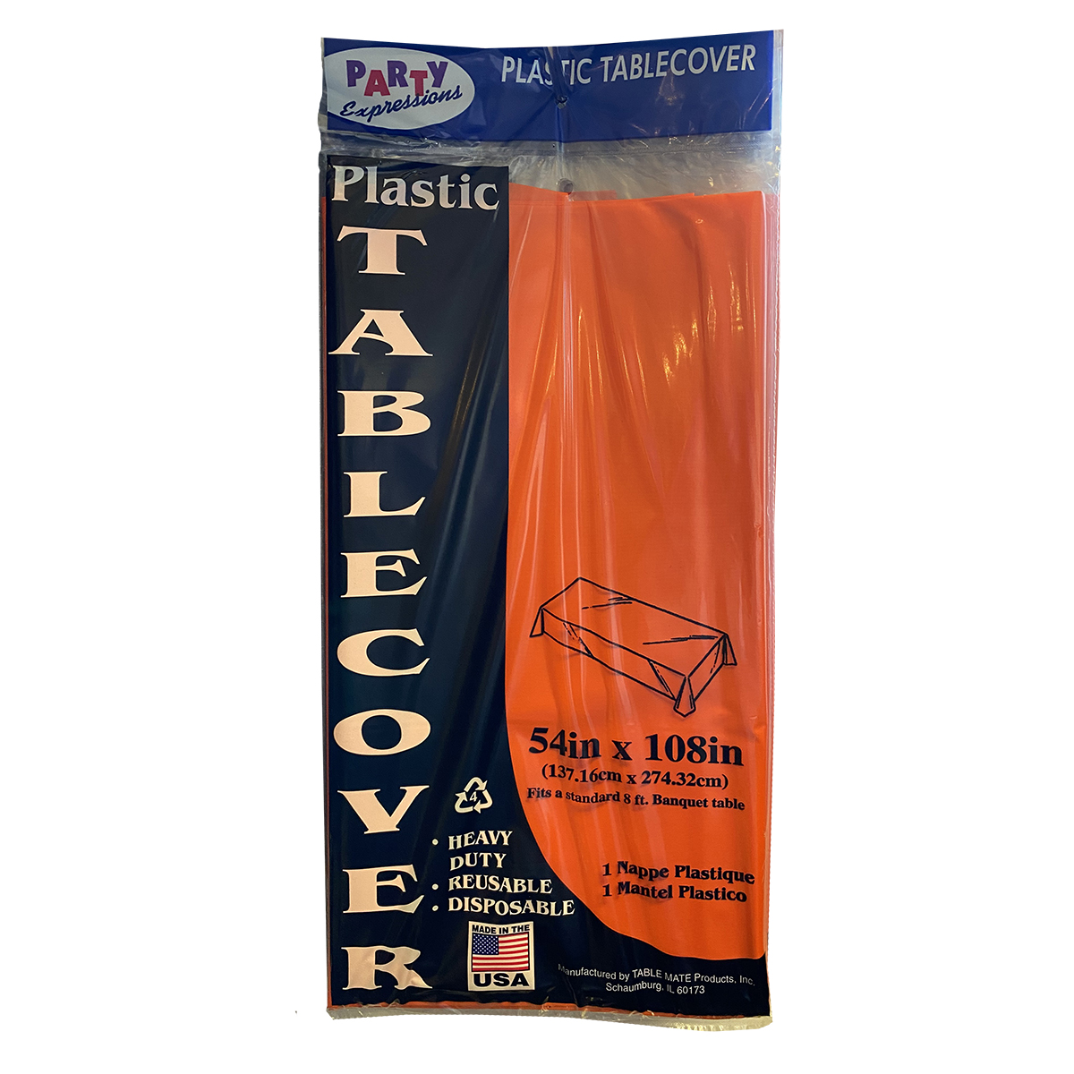 54x108 Orange Plastic Tablecover
