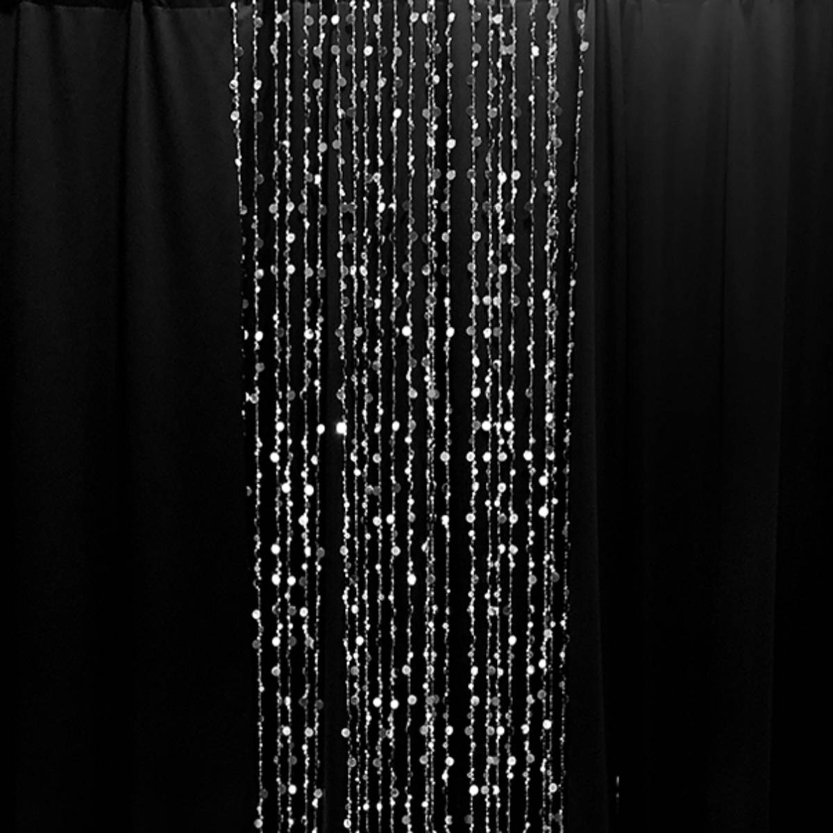 Beaded Curtain Metallic Slver Iridescent 12FT