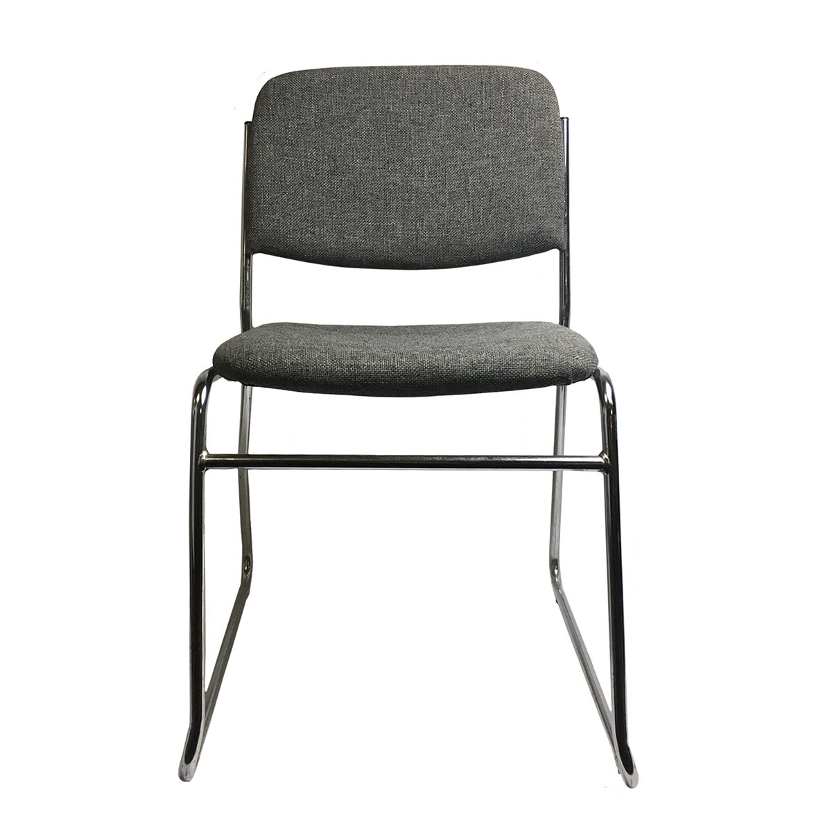 Chair Grey Padded Stacking With Chrome Frame