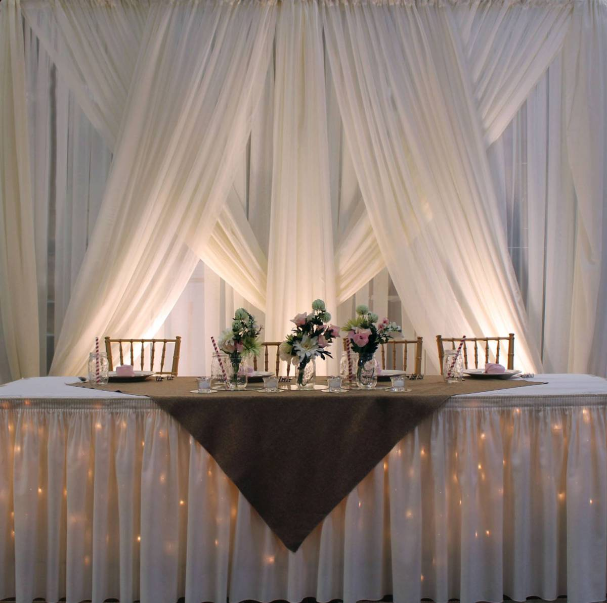 Sheer White Backdrop With Sheer White Front Layer Special Tied