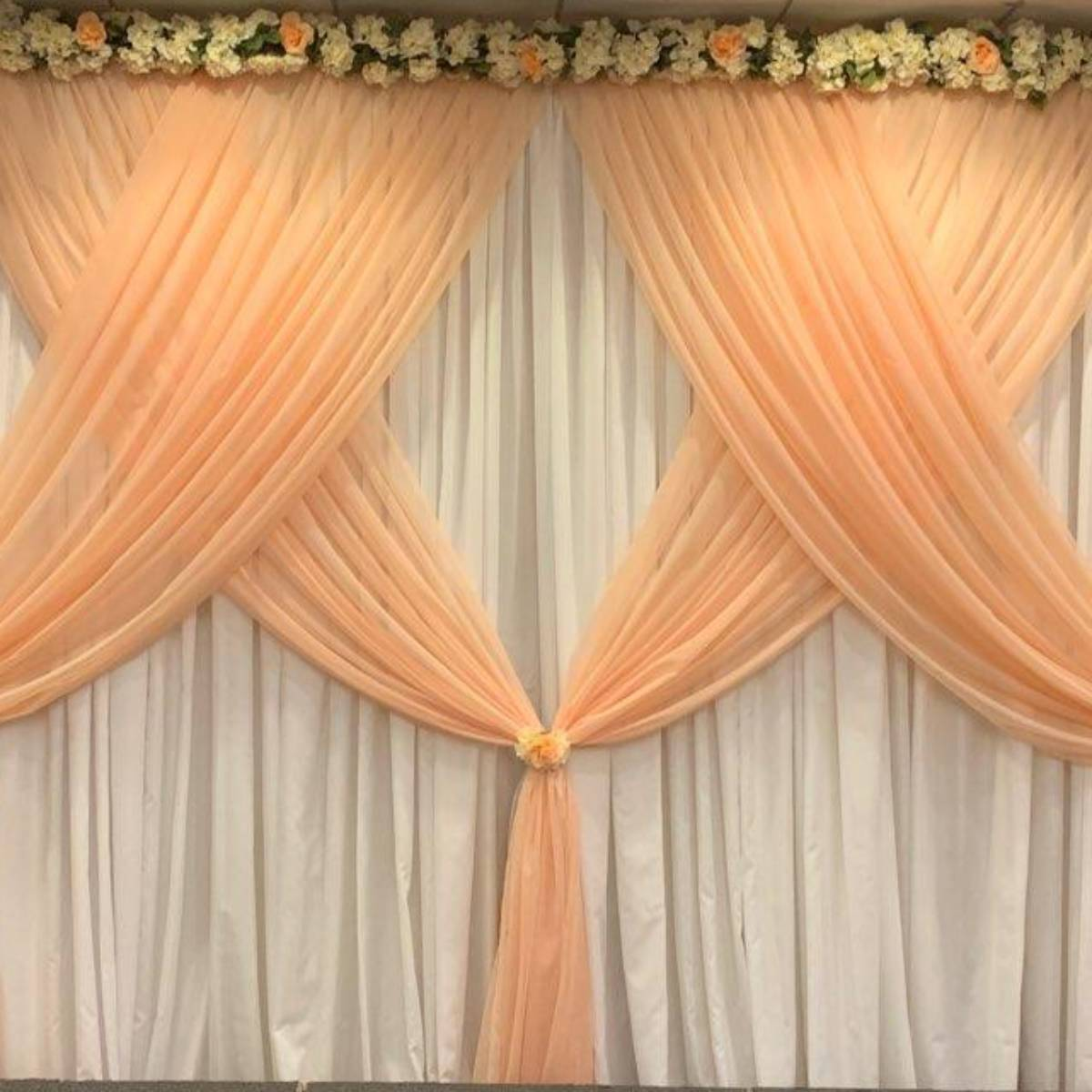White Taffeta Dual Panel Backdrop With Blush Sheer Front Layer Crisscrossed (Floral Not Included)