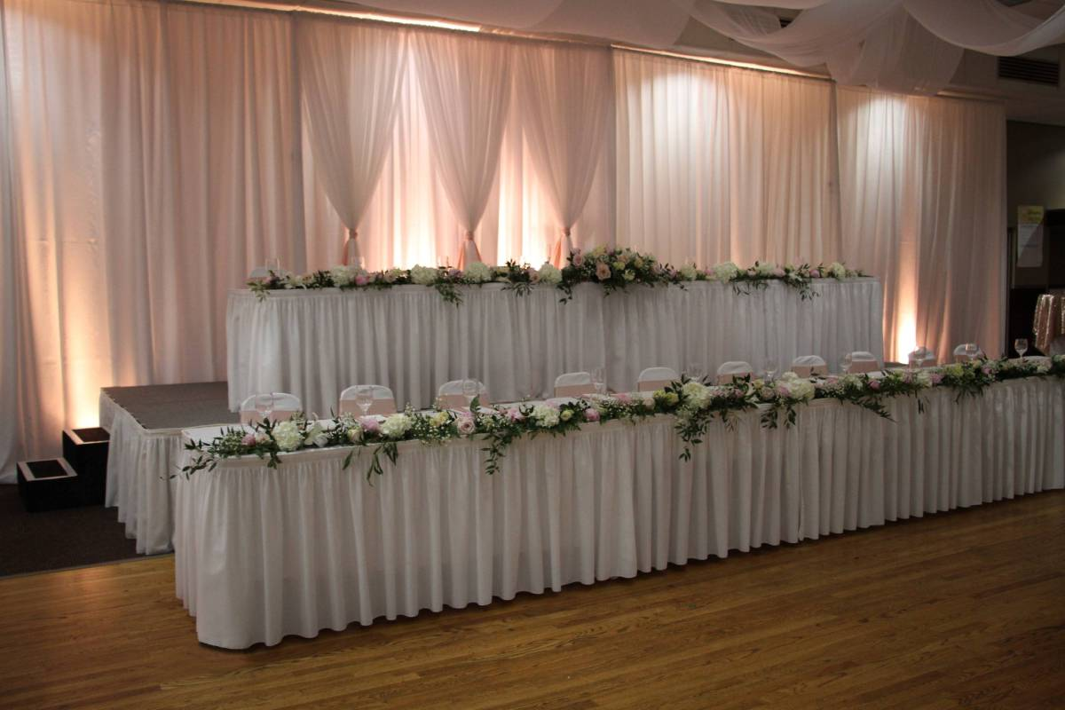 Taffeta Dual Panel White Backdrop 12' Tall Multiple Sections-Center Backdrop On Stage:Sheer White Backdrop With Sheer White Front Layer V Tied With Uplights With Colored Gels