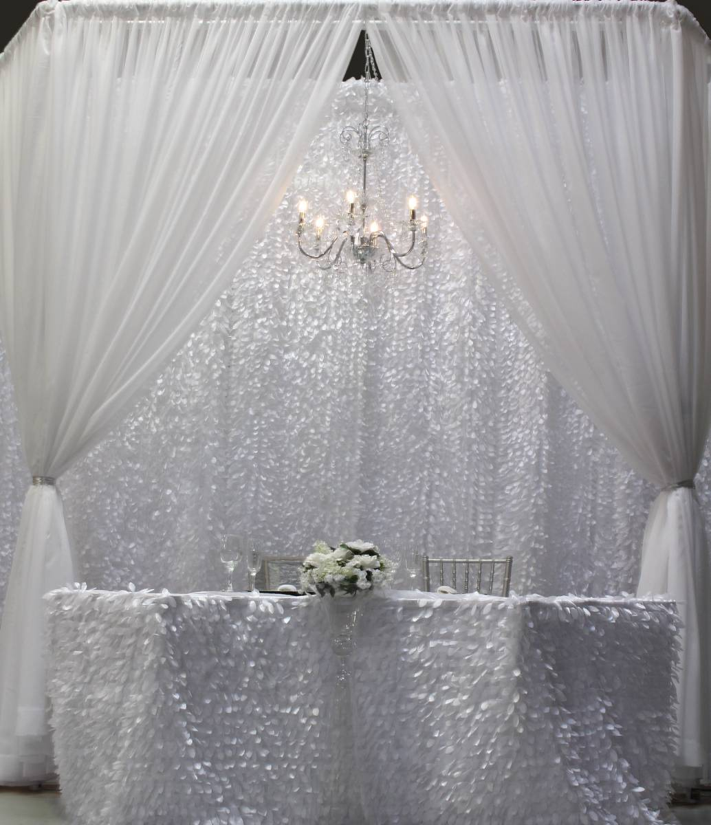 Custom Gatsby And White Sheer Drape Backdrop With Crystal Chandelier