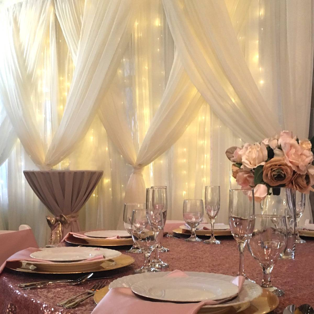 Sheer Ivory Backdrop With Sheer Ivory Front Layer, Crisscrossed Tied With Mini Lights