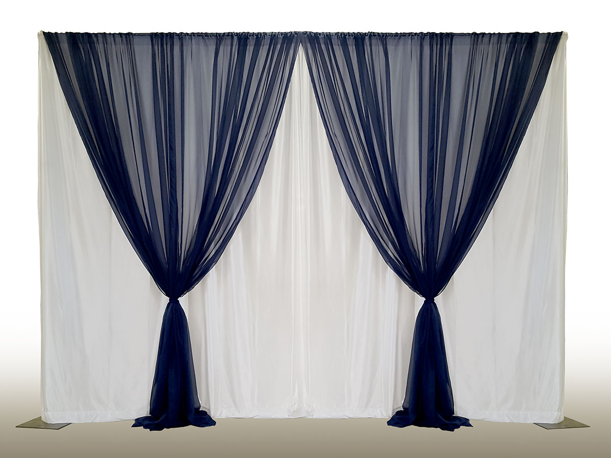 Wide Knit White Backdrop With Sheer Navy Front Layer V Tied