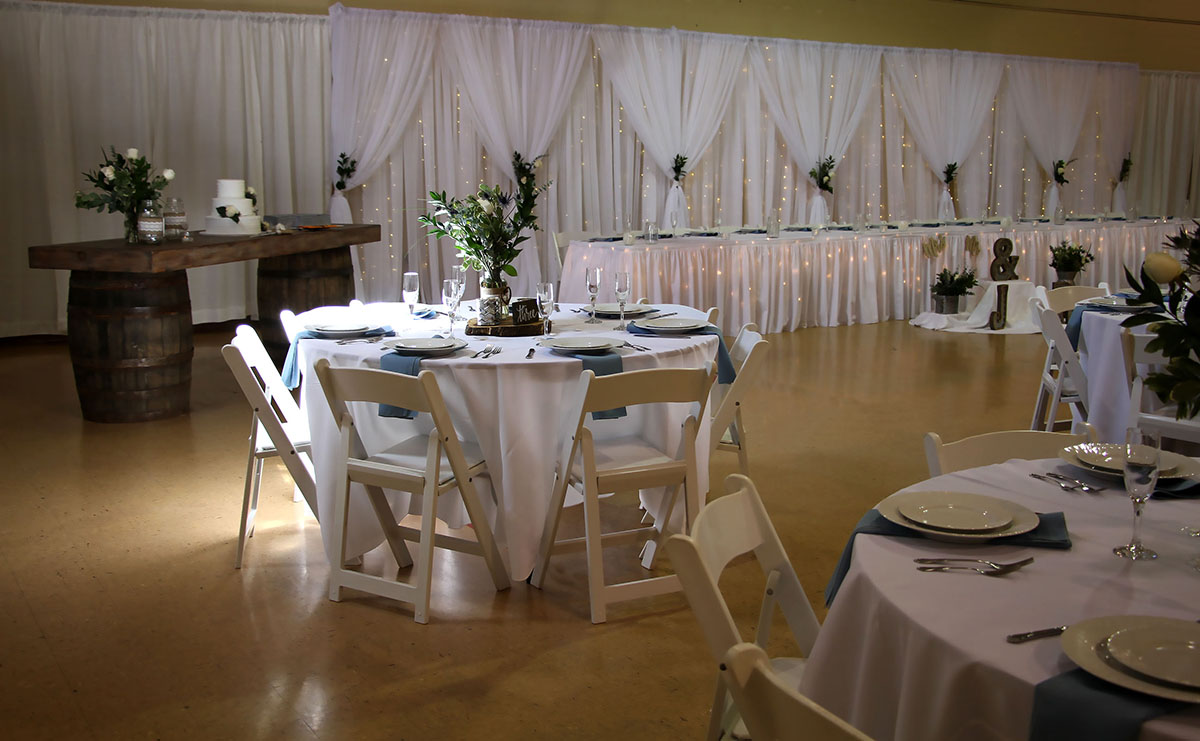Sheer Ivory Backdrop With Sheer Ivory Front Layer V Tied With Mini Lights