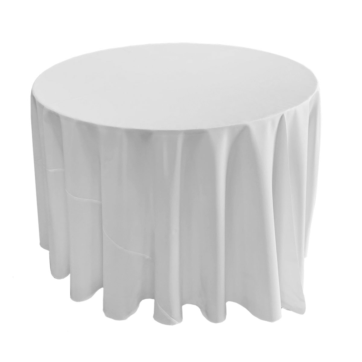 "114"" Round Solid White Tablecover On 48"" Round Table With Locking Wheels"