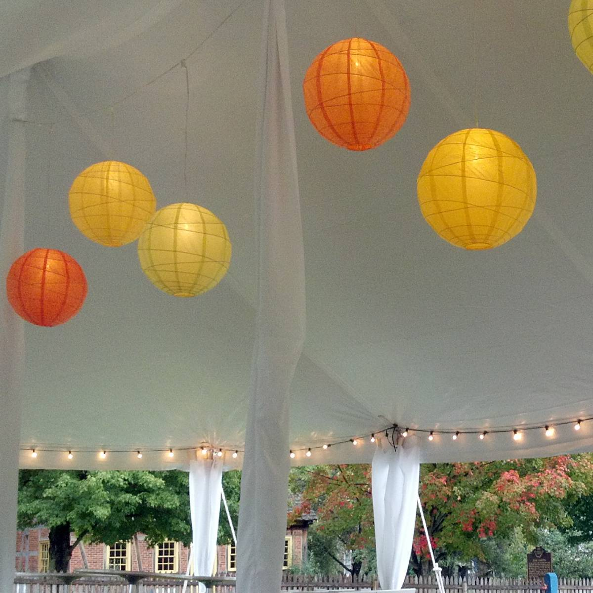Lit Paper Lantern Installed in a Pole Tent