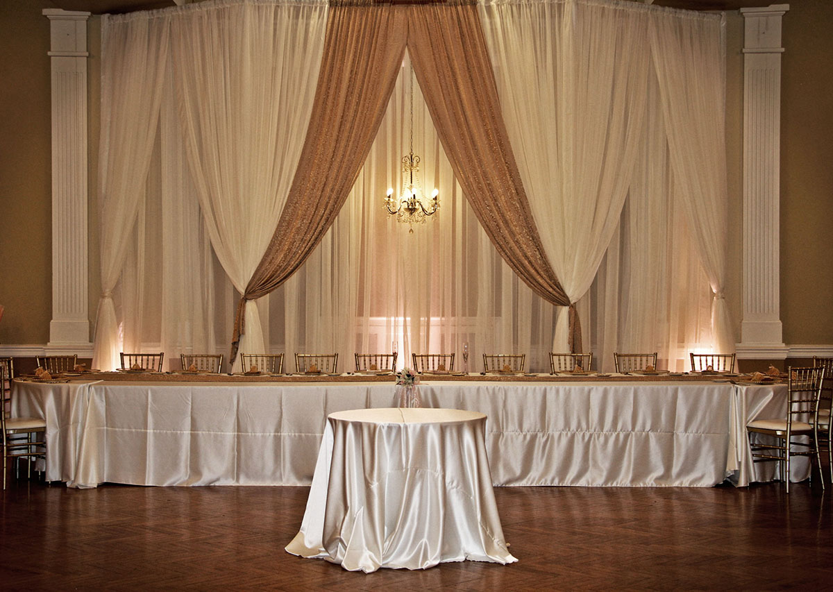 AG Specialty Sheer Ivory Backdrop with Ivory Sheer and Iridescent Crush Camel Drape